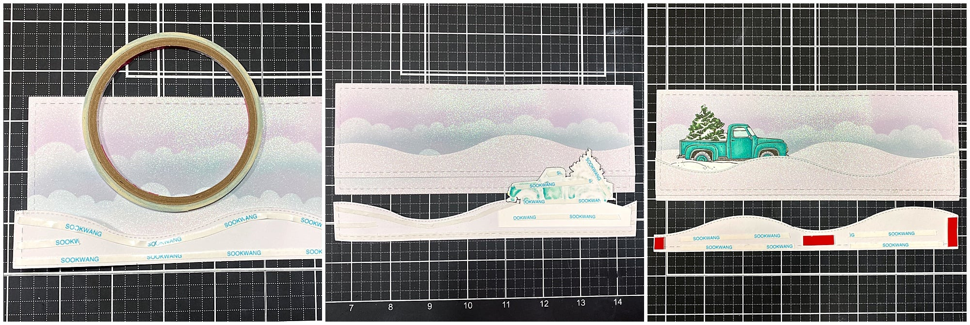 Adhering snow layers to create winter wonderland card