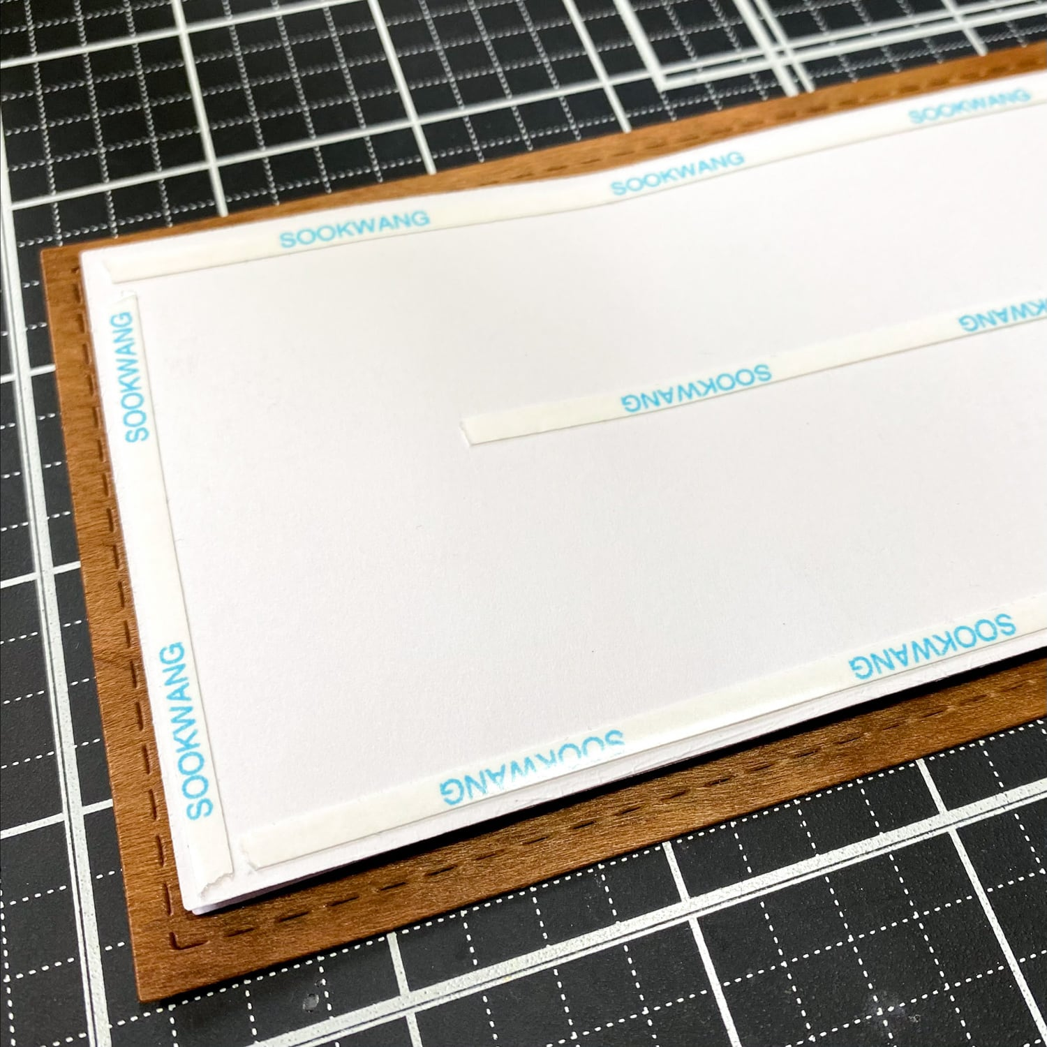stitched rectangle card mat layers