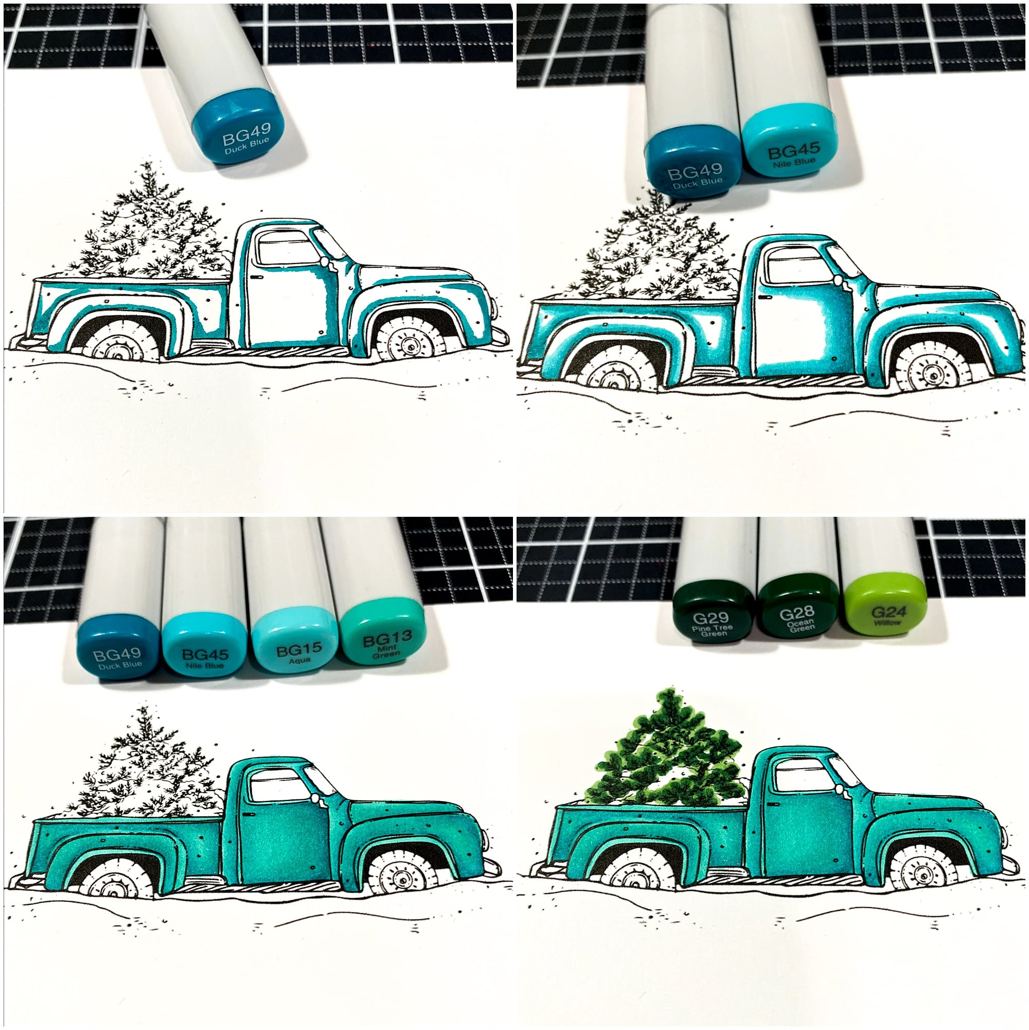 coloring christmas truck with copic markers