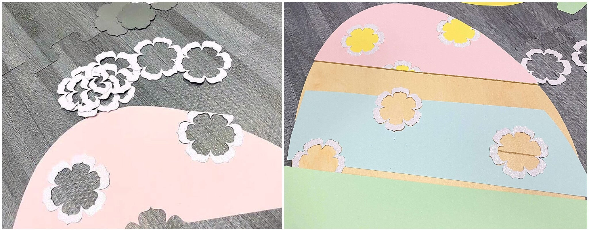 Pastel Paper and Wood Easter Egg Decor Die Cut Flower Inlays