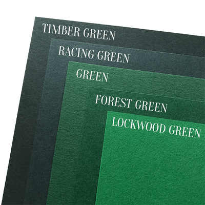 Green cardstock color comparison photo