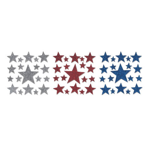 Foamies® Glitter Stickers - Stars - Red, White and Blue