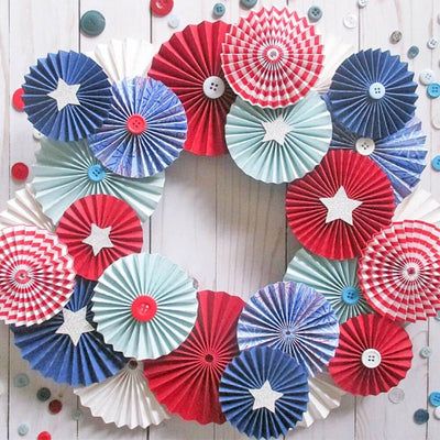 Red White and Blue Patriotic Cardstock Wreath