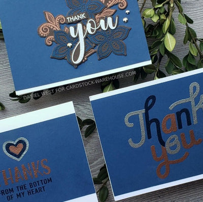 Blue Cardstock Thank you Card