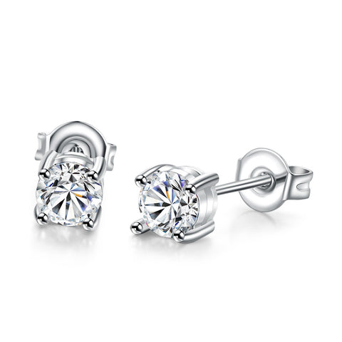 Naivo White Gold Plated Classic Cubic Zirconia Stud Earring