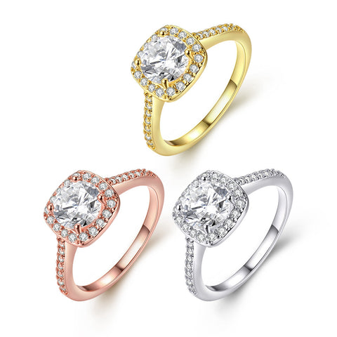 Naivo Gold Plated Crystal Stone Halo Setting Pave Band Engagement Ring Women's (1.90 carats)