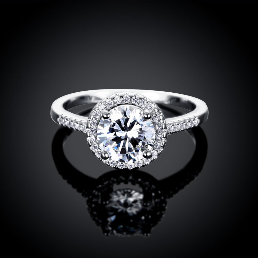 Naivo White Gold Plated Halo Pave Engagement Ring