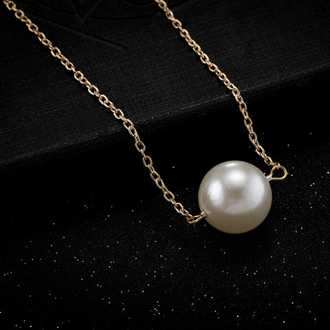 Naivo 18K Gold Plated Simple Pearl Single Pearl Drop Necklace, Pearl Necklace, Pearl Choker