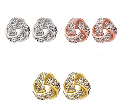 Naivo 18K Gold Plated Pave Love Knot Stud Earrings for Women - 3 Colors