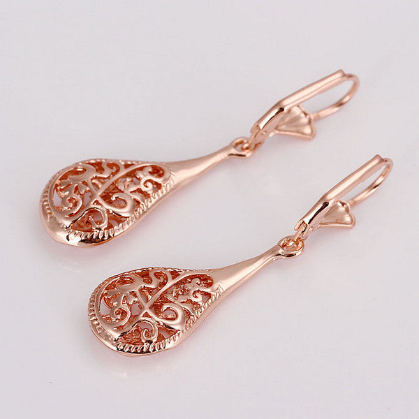 Naivo Rose Gold Filigree Teardrop Leverback Earrings