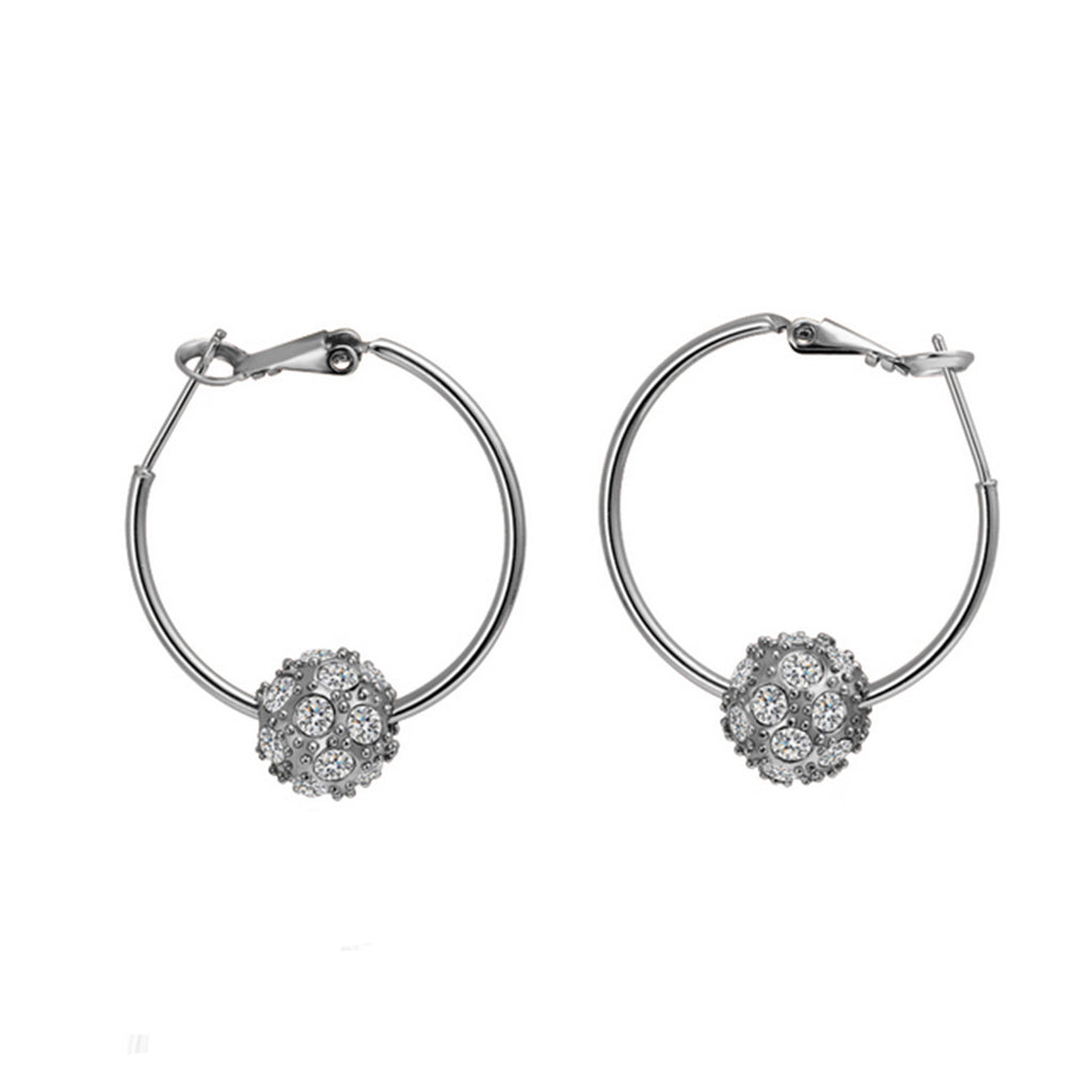 Naivo 18K Gold Plated Crystal Ball Pave Hoop Earrings - 3 Colors