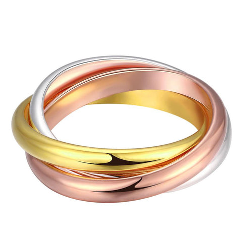 Naivo Tri-Color Gold Plated Interlocked Rolling Bands Ring Women's