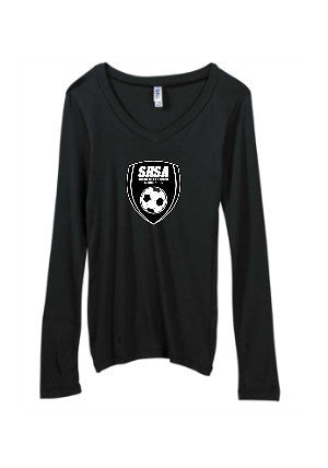 Women's Cut Long Sleeve V Neck