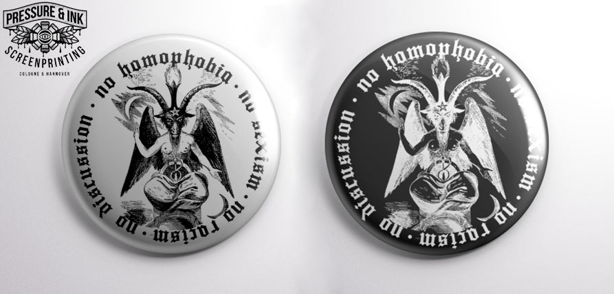 Soli-Button - NO HOMOPHOBIA No Sexism No racism no discussion - (Large Button 5,5cm diameter)