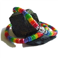 "Gay Pride ""Surfer"" Rainbow Puka Shell Necklace"