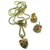 Gay Pride Pendant and Earring Set - Gold