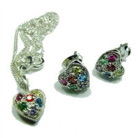 Gay Pride Pendant and Earring Set - Silver