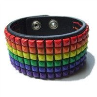 Gay Pride Leather Stud Bracelet