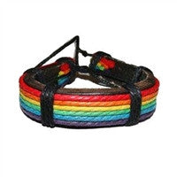 Gay Pride Leather Wristlet