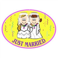 Euro Car Magnet - Just Married Brides