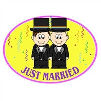 Euro Car Magnet - Just Married Grooms