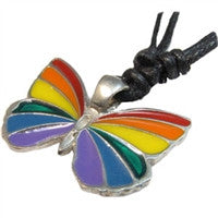 Rainbow Butterfly Pewter Pendant