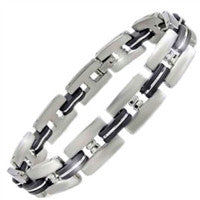 Stainless Steel and Black Rubber Bracelet - Series 8