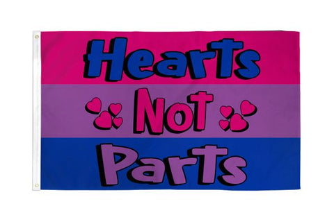3 x 5 Bisexual Hearts Not Parts Flag