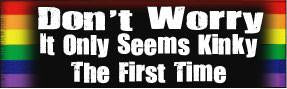 Don't Worry It Only Seems Kinky The First Time Bumper Sticker