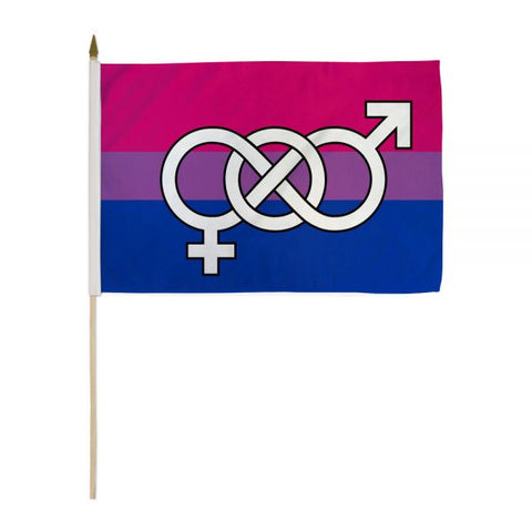 "12"" x 18"" Bisexual Symbol Stick Flag"