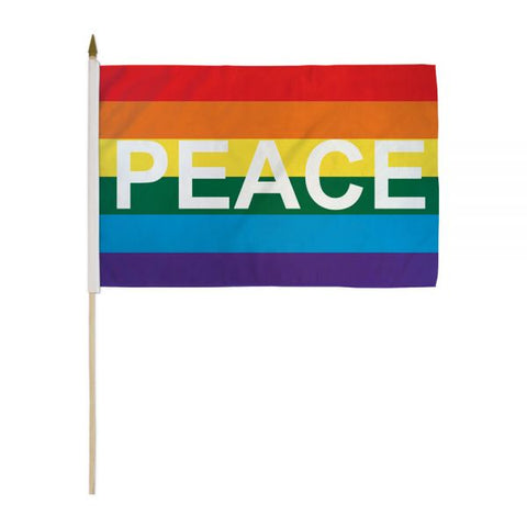 "12"" x 18"" Rainbow Peace Stick Flag"