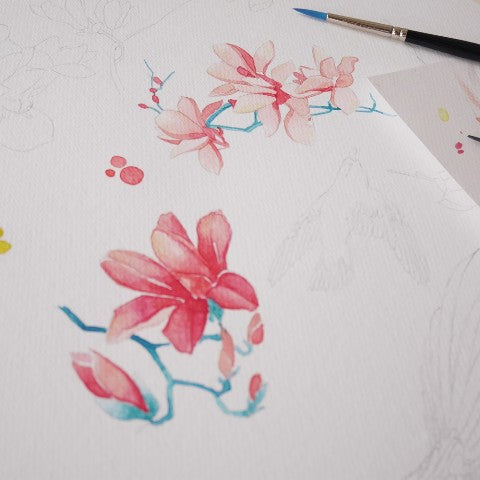 7 Steps to paint watercolor 'Peach Blossom'
