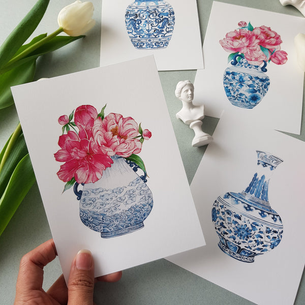 Janfive Studio Postcard - Mings & Peonies No.2