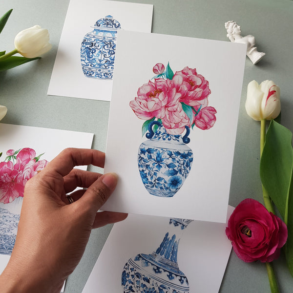Janfive Studio Postcard - Mings & Peonies No.1
