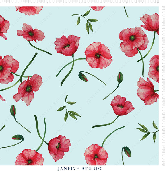 Janfive Studio Poppies Blue pattern