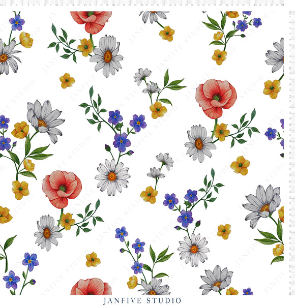 Janfive Studio Forget me not white pattern