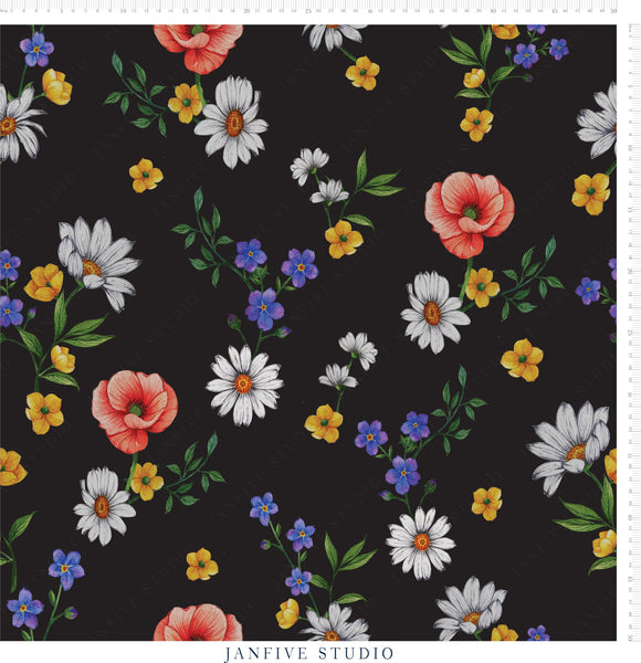 JJanfive Studio Forget me not black pattern