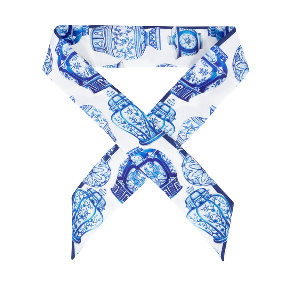 Janfive Studio - Blue Pottery Bow - White