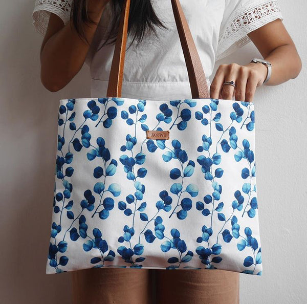 Flat Tote Blue Leaves