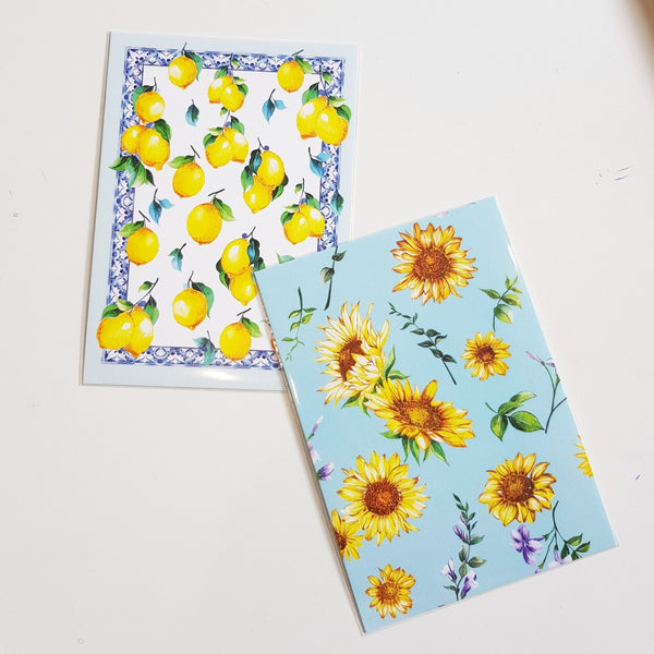 Janfive Studio Lemon and sunflower postcards