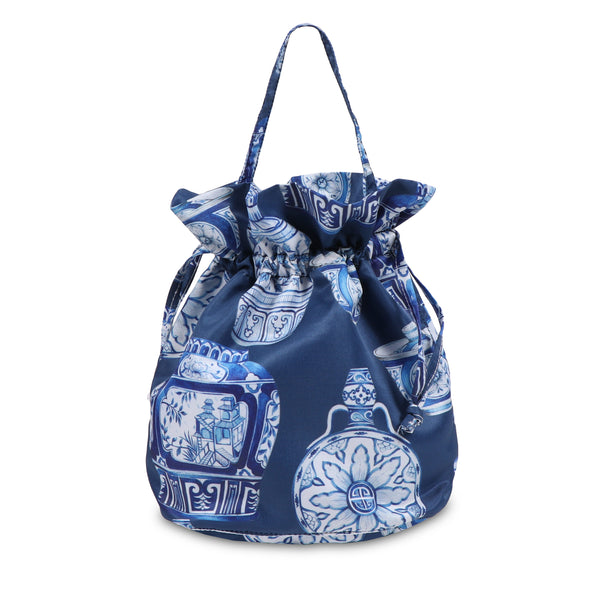 Janfive Studio - Drawstring Bag Blue Pottery