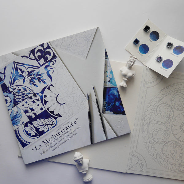 """La Méditerranée"" watercolor coloring book"