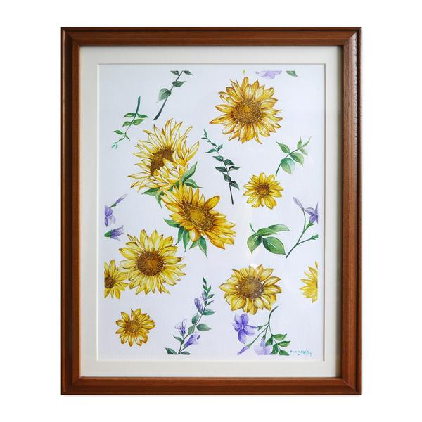 Janfive Studio Sunflowers Watercolor Painting