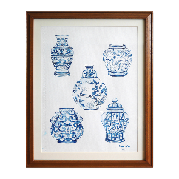 Janfive Studio Chinese Blue Porcelaines Watercolor Painting