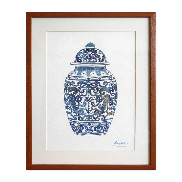 Janfive Studo Chinese Blue Jar  Watercolor Painting by Fuanglada