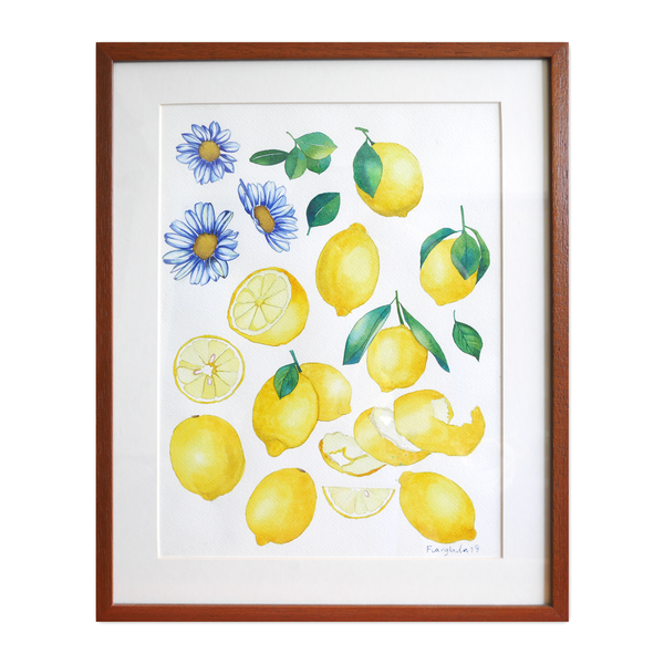Janfive Studio Lemons  Watercolor Painting by Fuanglada