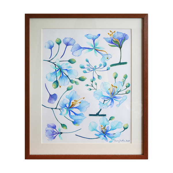 Janfive Studio Blue Flowers Watercolor Painting by Fuanglada