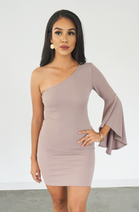 One shoulder taupe mini dress women's fashion dress