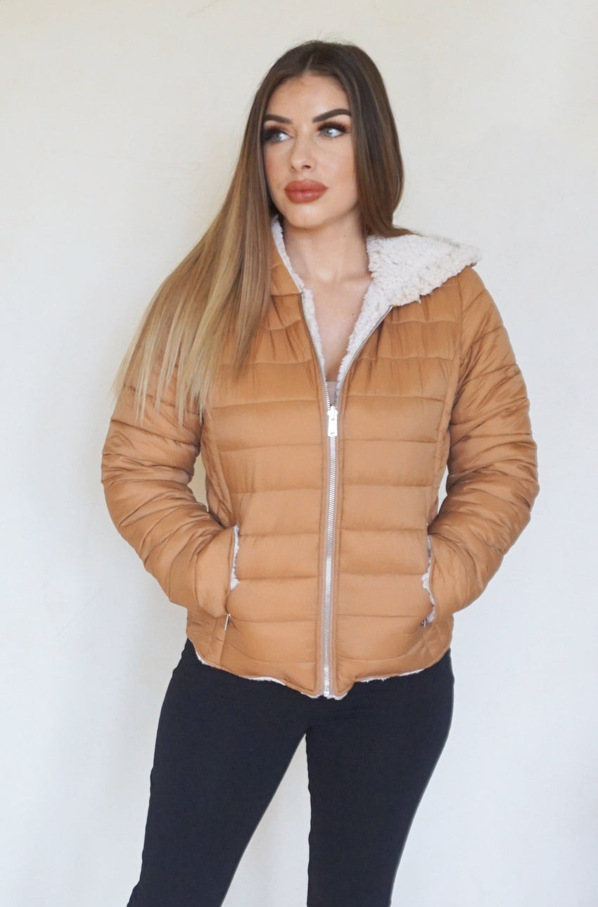 Puffer winter fashion jacket with Sherpa lining