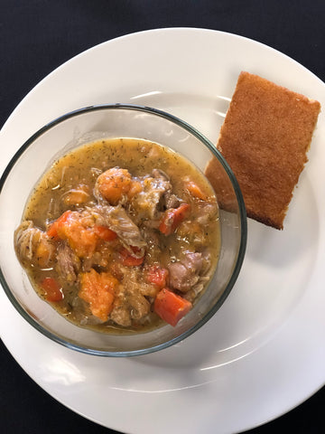 Hearty Chicken and Vegetable Stew with Gluten Free Corn Bread